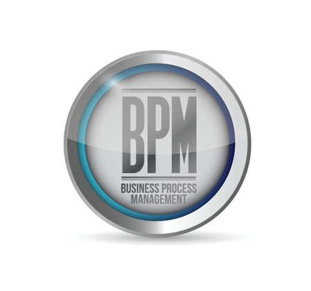 bpm: bpm business process management button illustration design Illustration