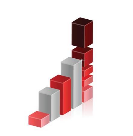 staaf diagram: Staafdiagram omhoog te bewegen te overbelasten en de crash illustratie ontwerp Stock Illustratie