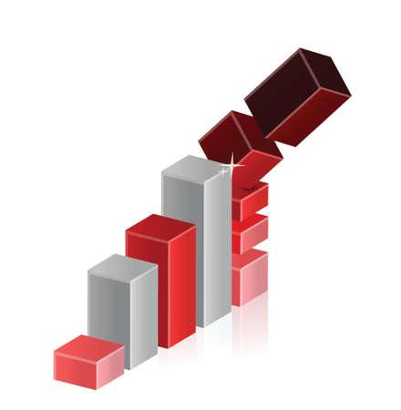 overvalued: Falling Crisis Business Bar Chart Diagram illustration design