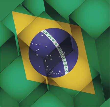 brazil. brazilian 3d cubes flag illustration design background Ilustração