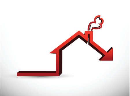 expressing negativity: House market falling concept graph illustration design