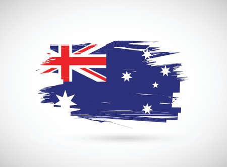 grunge ink australian flag illustration design over white Çizim