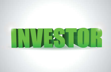 investor: investor 3d text illustration design over a white background