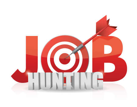 job hunting: Phrase Job Hunting isolated on white. target and dart. illustration design