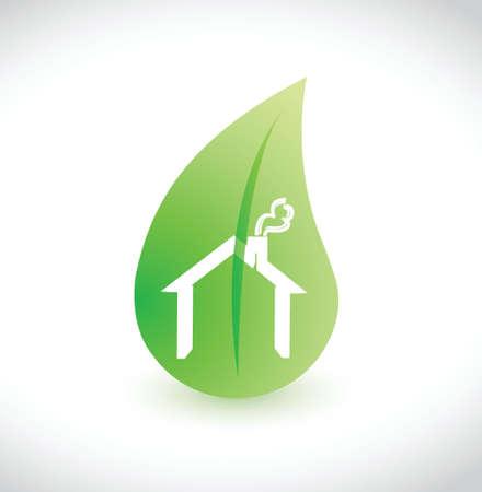 House green leaf ecological illustration design over white Stock Vector - 20760580