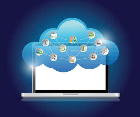 Cloud Computing Concept illustration design over a blue background Vector