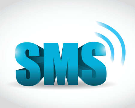 sms 3d text illustration design over a white background