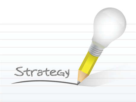 strategy light bulb pencil concept illustration design over white