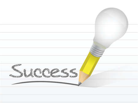 success light bulb pencil concept illustration design over white Vector