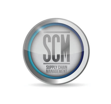 scm: supply chain management button illustration design over white