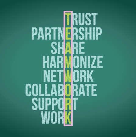 teamwork concept crossword illustration design graphic background Illustration