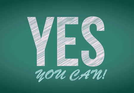 you can: Sí se puede, escrito en la pizarra de diseño ilustración