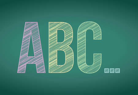 abc letters and chalk on blackboard illustration design