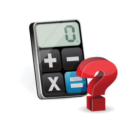 estimate: Calculator and question mark illustration design over a white background