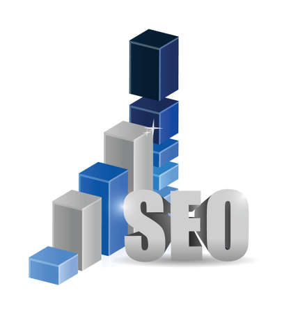rank: Growth bar graph of SEO technology illustration design over white