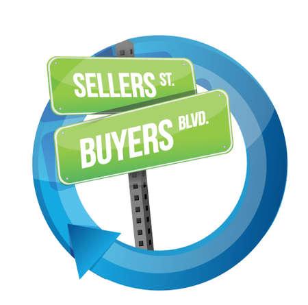 vendedor: roadsign de palabras vendedores y compradores de diseño ilustración en blanco Vectores