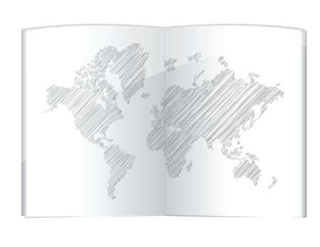 literature: drawing world map in the book illustration design over white