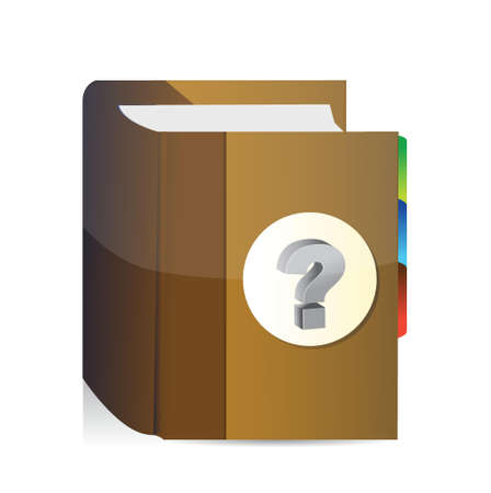 Book with question mark illustration design over a white background