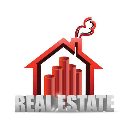 real estate house graph chart illustration design over white Stock Vector - 20760573