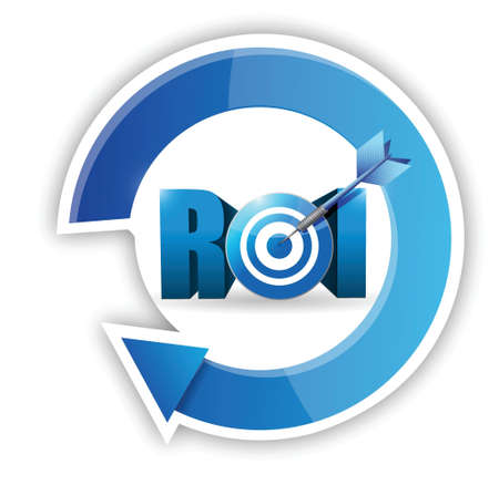 Return on investment business concept. target illustration design over white Illustration