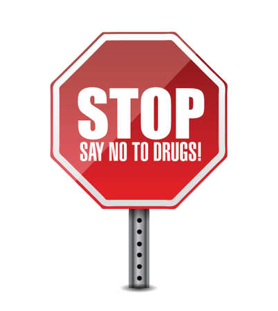 meth: say no to drugs. stop sign illustration design over white