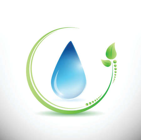 eco leaves and water illustration design over a white background