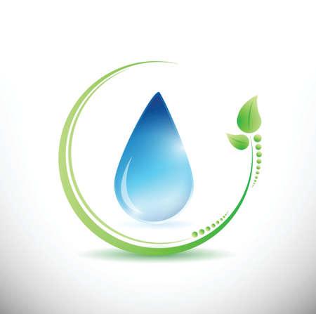 Foglie di eco e acqua illustrazione di progettazione su uno sfondo bianco Archivio Fotografico - 20760546