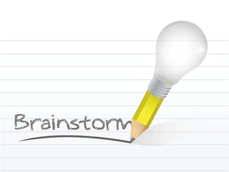 brainstorm written with a light bulb idea pencil illustration design over notepad paper Stock Vector - 20760548