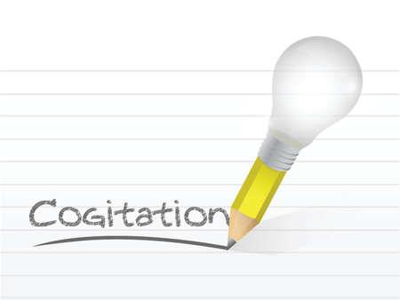 cogitation: cogitation written with a light bulb idea pencil illustration design over notepad paper Illustration