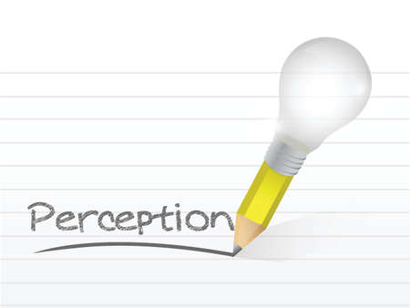 perception written with a light bulb idea pencil illustration design over notepad paper Çizim
