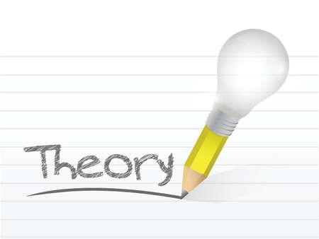 theorie geschreven met een lamp idee potlood illustratie ontwerp op blocnotedocument