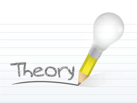 theory written with a light bulb idea pencil illustration design over notepad paper Иллюстрация