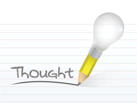 thought written with a light bulb idea pencil illustration design over notepad paper Çizim