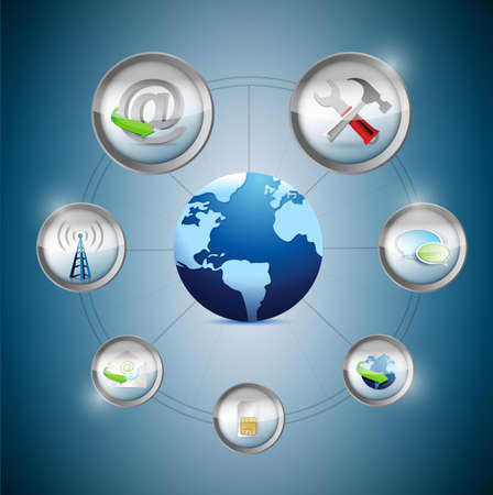 Internet marketing concept illustration design over a blue background