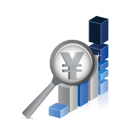 risk analysis: yen currency under review. successful graph illustration design Illustration