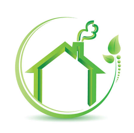 eco friendly home environment solution sign. illustration design over white Illustration