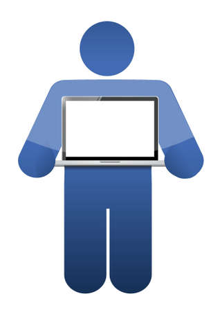 laptop screen: icon holding a laptop with a blank screen. illustration design