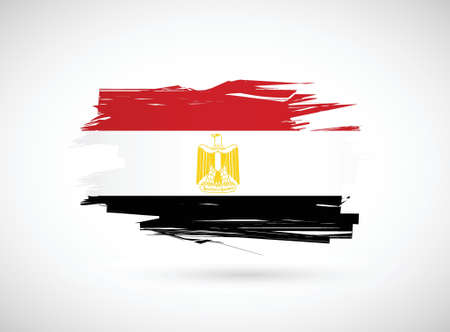 Egypt. Egyptian flag painted with watercolor. illustration design Иллюстрация