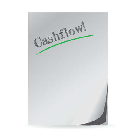 word cashflow written on a white paper illustration design 向量圖像