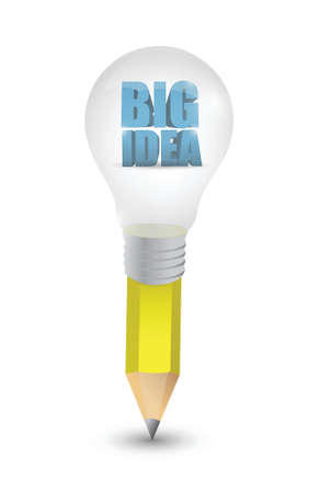 energysaving: big idea light bulb pencil illustration design over white