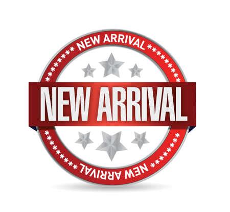 nieuwe aankomst seal stempel illustratie over een witte achtergrond