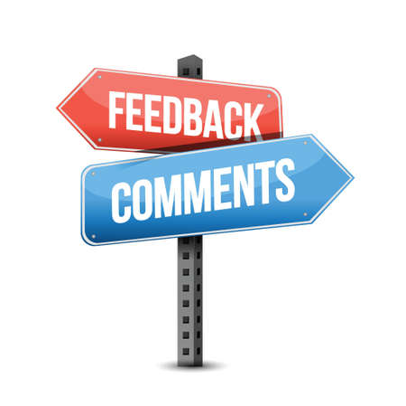 feedback or comments road sign illustration over a white background Stock Illustratie