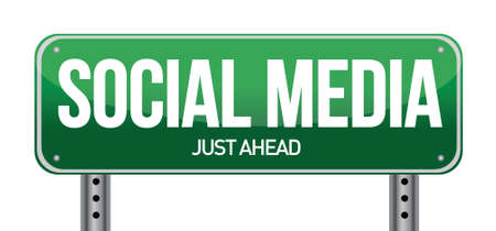 social media road sign illustration over a white background Stock Vector - 20903426