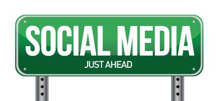 social media road sign illustration over a white background Stock Vector - 20903426