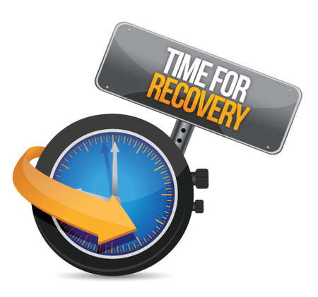 economic recovery: time for recovery concept illustration design over white