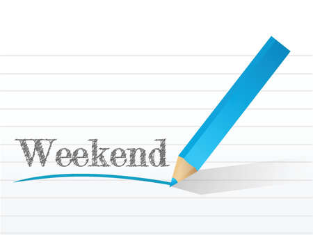 weekend written on a notepad paper. illustration design background
