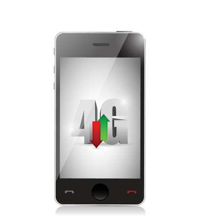 モバイル 4 g の接続。白色の背景上のイラスト デザイン