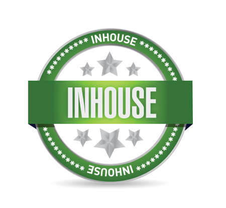 approval button: inhouse seal stamp illustration design over a white background