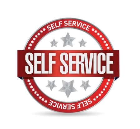 self help: self service seal stamp illustration design over a white background Illustration