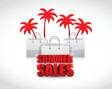 summer sale sign and bags illustration design over a white background Illustration